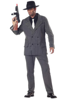 The Adults Gangster Boss Costume has a grey pinstripe suit with white tie and black hat